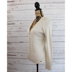 NWT Calvin Klein White Gold Ribbed Zip Up Sweater